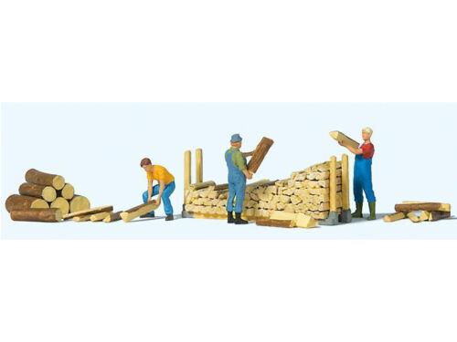 Preiser 10707 h0 personnages lors de l/'empiler des bois de chauffage
