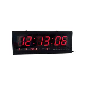 Grand-LED-Digitale-Horloge-Murale-Montre-quartz-Date-Temperature-Maison-12-24H