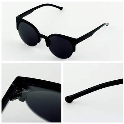 Fashion Unisex Retro Round Circle Frame Semi-Rimless Black Sunglasses eyewear FE
