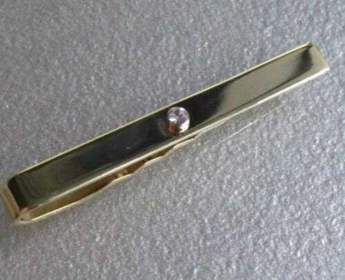 NEW Tie Clasp Clip MENS Bar Clasp DIAMANTE GOLDTONE