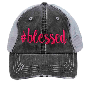 Gray Mesh Back #BLESSED in Hot Pink Embroidered Women/'s Trucker Hat