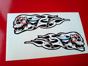 MAD SKULL /& METAL FLAMES Car Motorcycle Helmet Stickers Decals 2 off 125mm