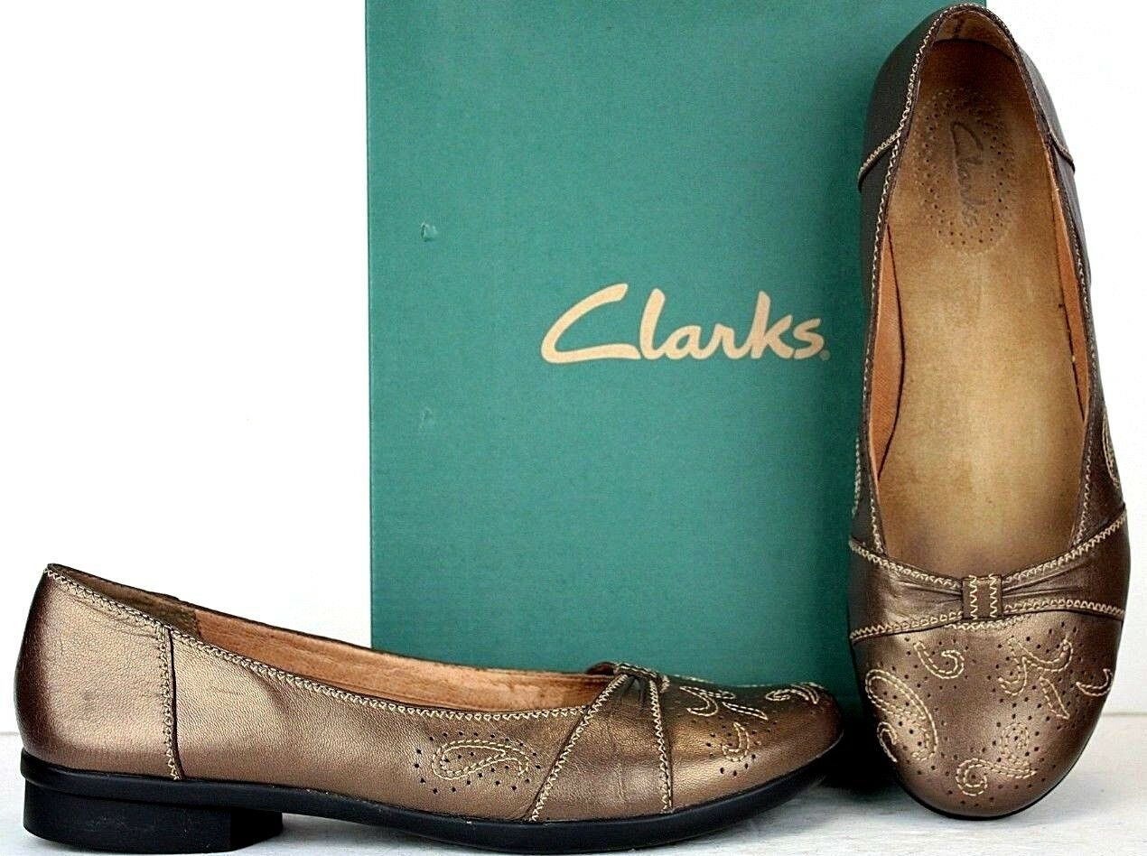 CLARKS Womens Loafers size 9.5 M Bronze Leather Slip-On shoes SS26