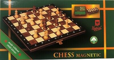 "CONSUL WOODEN CHESS SET 3 1//2/"" KING 19/"" FOLDING BOARD BROWN"
