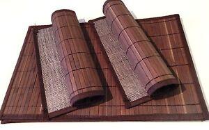 Tischet Aus Bambus 6tlg Fur 6 Personen Dunkelbraun Tischdekoration