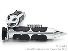 "1"" 25cm Harley & Custom Bikes Handlebar Grip Chrome - FLAMED SPIKE"