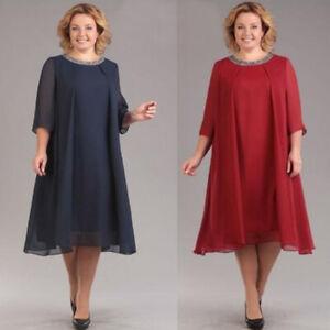 Plus Size Womens Asymmetrical Midi Dress Ladies Long Sleeve Evening Party Dress