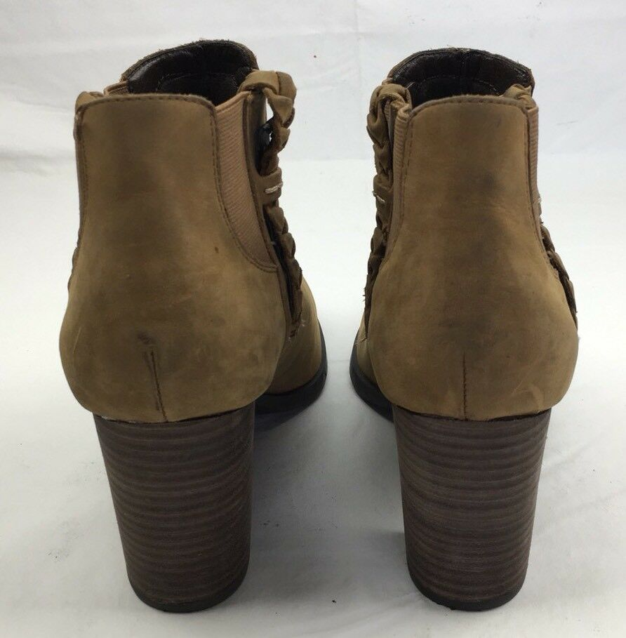 WOMENS SPERRY BOOTS Dasher Leah Brown Pull On On On Stacked Heel Ankle Booties 9.5 599ad4