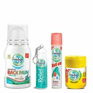 AMRUTANJAN Back Pain Roll On 50 ml & 10 Ml Nasal Inhaler & Extra Power Balm 8 ml