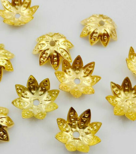 Free Ship 500Pcs Gold Plated Flower Beads Caps Jewellery Craft Findings 10x4mm
