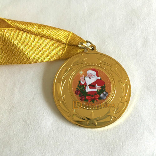 Father Christmas Medals 10 Christmas Medals /& Bright Gold Ribbons Gold Santa