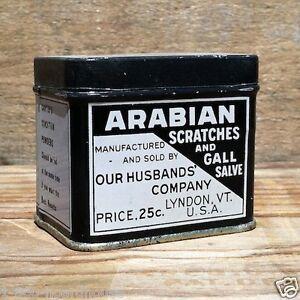 Vintage Original ARABIAN SCRATCHES GALL SALVE RX MEDICAL Tin 1910s Unused Empty