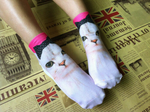 ANIMAL 3D UNISEX ADULT PRINTED LOW CUT ANKLE SOCKS ONE SIZE FITS UP TO SIZE 6