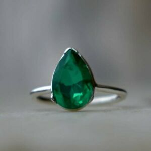 925-Sterling-Silver-Natural-Colombian-Emerald-Pear-Vintage-Tiny-Stackable-Ring