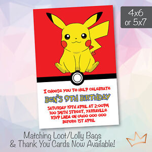 Image Is Loading Personalised Pokemon Go Birthday Invitations Party Pikachu Invites