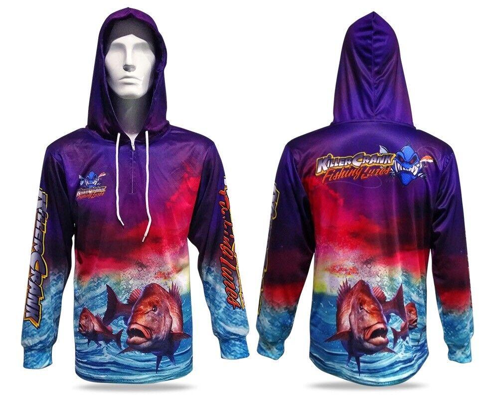 New Unisex Snapper Hooded Killer Crank Fishing Shirt. All Kids And Men's Sizes