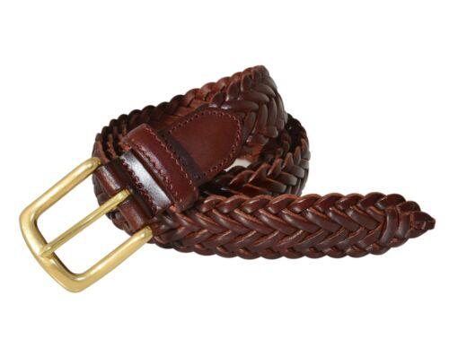 Men's Full Grain Braided Cowhide Leather Belt w//Solid Brass Buckle 796