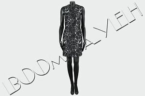 BALENCIAGA-1555-Authentic-Black-Cotton-Blend-Marble-Jacquard-Fitted-City-Dress