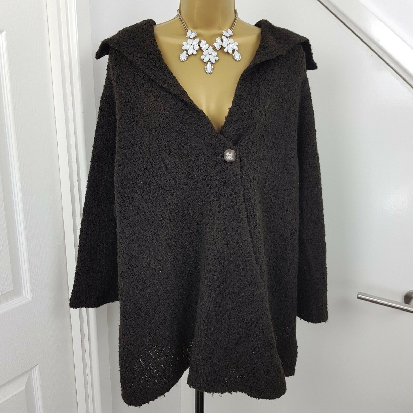 THE MASAI CLOTHING COMPANY Cardigan Midi Jumper Wool Blen Lagenlook Knit Brown M