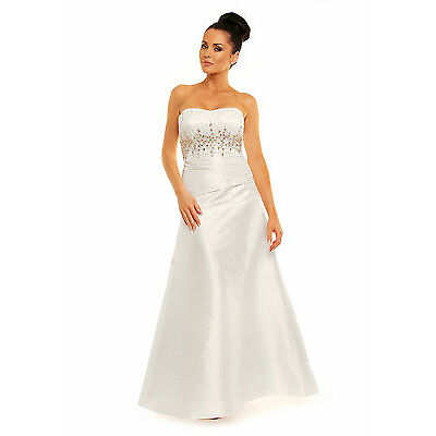 New Wedding Evening Prom Dress In White,IvoryUKSize 8-16,EU38-46,US6-14 UK STOCK