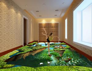 3D Forest Waterfall House 71 Floor WallPaper Murals Wall Print Decal 5D AU Lemon
