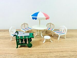 Sylvanian-Families-Vintage-Patio-Furniture-amp-Barbecue-BBQ-1988-Set-TOMY