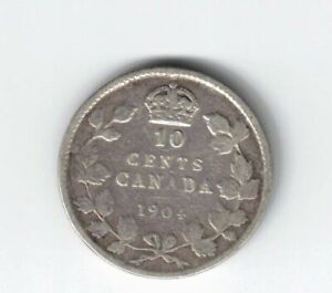 CANADA-1904-10-CENTS-DIME-KING-EDWARD-VII-STERLING-SILVER-CANADIAN-COIN