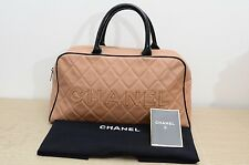 Chanel Beige Caviar Boston Bag Handbag Sports Line Used Authentic w/ Dustbag