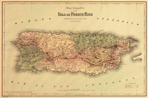 MAP ANTIQUE COLTON 1886 PUERTO RICO HISTORIC LARGE REPLICA POSTER PRINT PAM0838