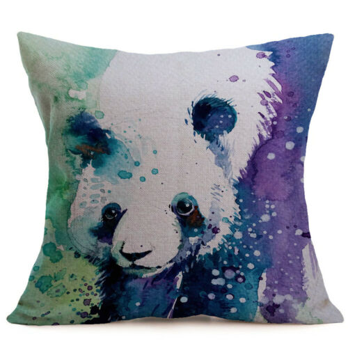 Watercolor Animal Throw Pillow Cover Hummingbird Dog Couch Bed Sofa Cushion Case