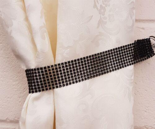 2 x Rideaux Rideaux voiles strass bling brillants noir Tiebacks Retenues