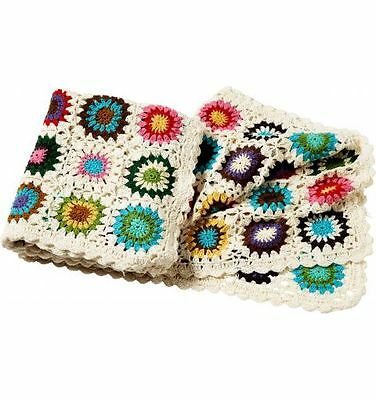 Crochet Throw Rug with Squares, Multi-coloured