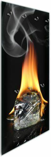 Brennender Eiswürfel Eiswürfel Feuer Wallario Glas Garderobe 50 x 125 cm Motiv
