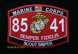 MOS-8541-SCOUT-SNIPER-US-MARINES-PATCH-STA-SASR-SSP-M16A2-M82A1-VIETNAM-8541