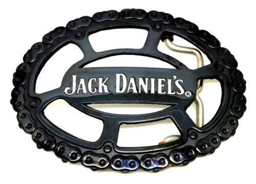 Jack Daniel/'s boucle de ceinture noir avec chaîne frontière authentique sous licence officielle