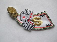 #3638 Dollar Dice Coins Casino Gambling Embroidery Iron On Applique Patch