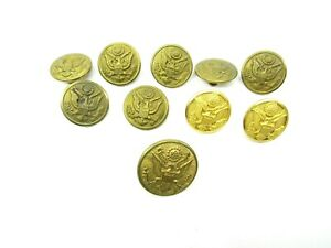 Lot-of-10-Waterbury-Button-Co-Gold-Tone-Military-Metal-Eagle-Connecticut-Vintage