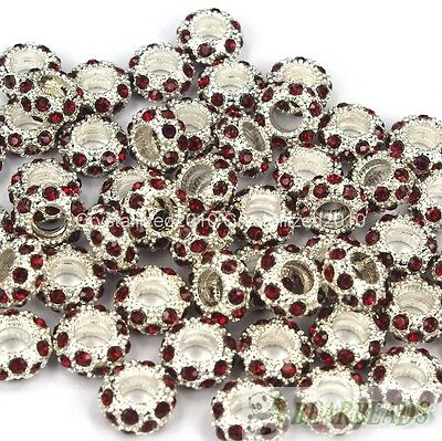 Big Hole Crystal Rhinestone Pave Silver Rondelle Spacer Beads Fit European Charm