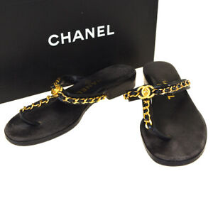 Authentic-CHANEL-CC-Logos-Chain-Sandal-Shoes-Leather-Black-36-1-2-Italy-05BK545