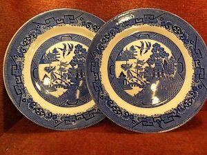 2 Soho Potterysolian Blue White Willow 975 Dinner Plates C1930