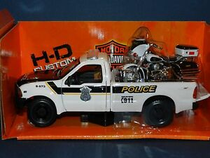 Maisto-1-27-1999-Ford-F350-Super-Duty-amp-1-24-2004-Harley-Electra-Glide-Police-MB