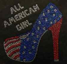 "HOTFIX RHINSTONES HEAT TRASFER IRON ON /""All american girl heel/"""