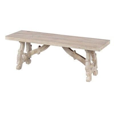 Tremendous 50 Long Dining Bench Solid Mango Wood Hand Carved Ornate Base Distressed Finish Ebay Gmtry Best Dining Table And Chair Ideas Images Gmtryco