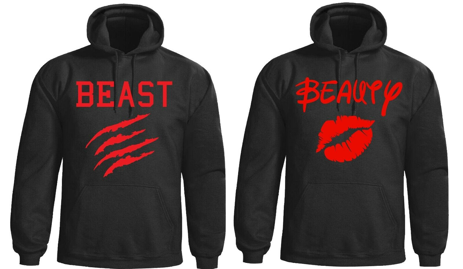 Beauty and The beast hoodies red design hooded sweatshirt adults+kids