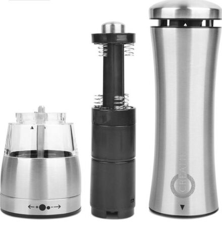 2 x Electric Salt and Pepper Mill Grinder Set with Led High Quality Stainless S