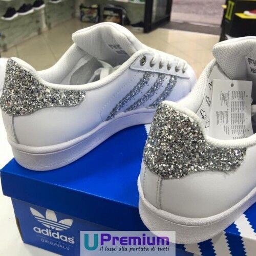 prodotto Customizzato Or Brillantinate Scarpe Bianche Adidas Superstar Argento wqIvA1
