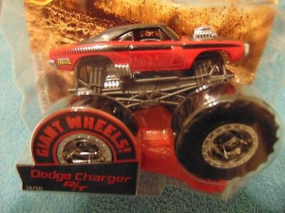 2019 New Red Dodge Charger R T Hot Wheels Monster Truck W Giant Wheels Ebay
