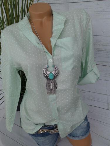 Cheer viscosa blusa talla 34-44 Mint con corazones estampadas nuevo 759
