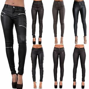 2ff944ea5d9a WOMEN LEATHER LOOK LEGGINGS BLACK WET TROUSERS SEXY JEANS SIZE 6 8 ...