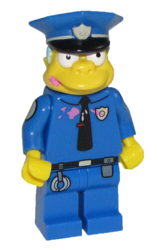 Lego New Chief Wiggum The Simspons Minifigure Doughnut Frosting on Face Fig
